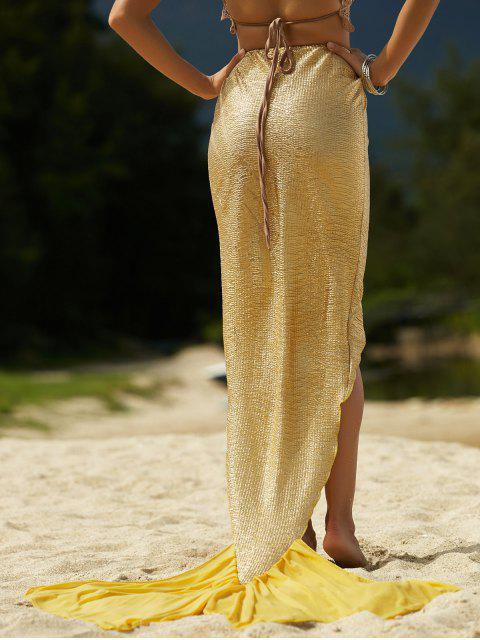 best Solid Color High Low Hem Mermaid Skirt - GOLDEN XL Mobile