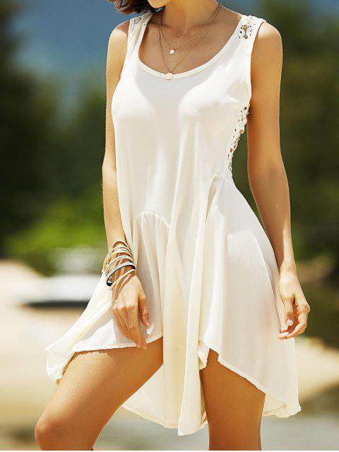 fancy Lace Back Irregular Dress - OFF-WHITE S Mobile