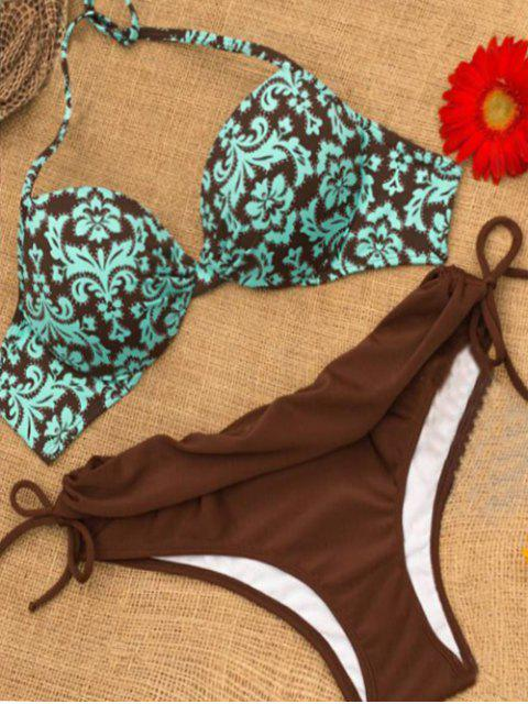 fancy Molded Cup Baroque Print Underwire Bikini Set - COLORMIX L Mobile