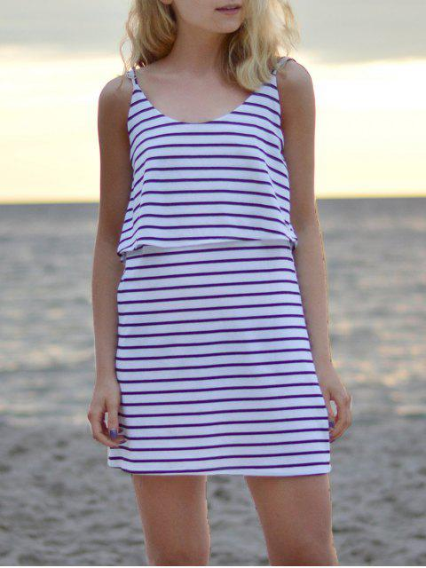 fashion Striped Spaghetti Overlay Dress - WHITE M Mobile