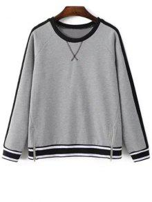 Zip Hem Gray Sweatshirt - Gray S