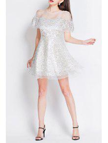 فستان مصغر شير مطرز بالترتر بخط A - أبيض L