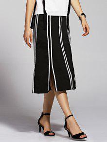 Striped High Waisted Slit Skirt - Black M