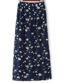 La Alta Cintura Una Línea De Falda Impresión Floral Tiny - Azul Purpúreo S