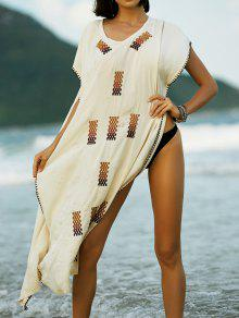 Embroidery V-Neck Cape Dress - Apricot S