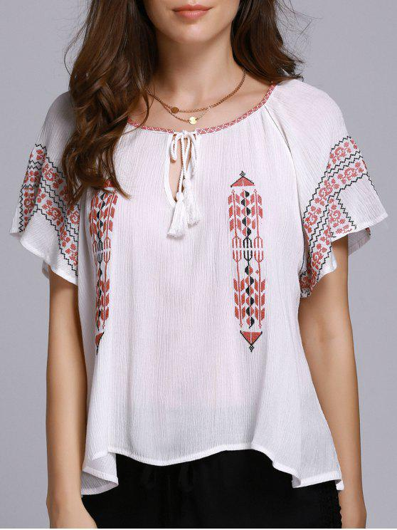 latest Ethnic Embroidery Round Neck Short Sleeve Blouse - WHITE S