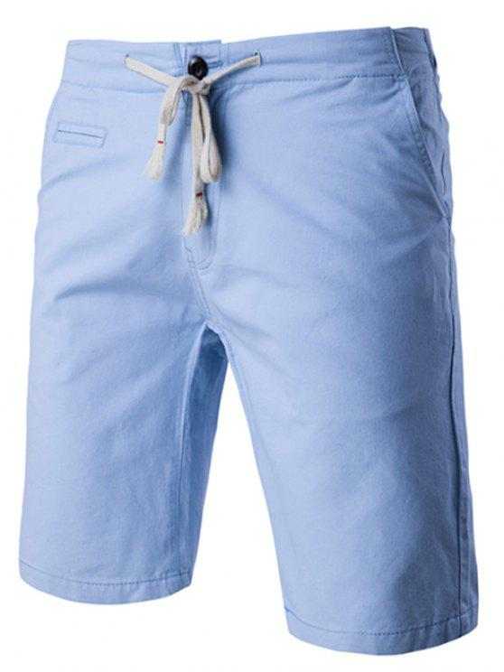 trendy Lace-Up Solid Color Stylish Straight Leg Shorts For Men - LIGHT BLUE 2XL