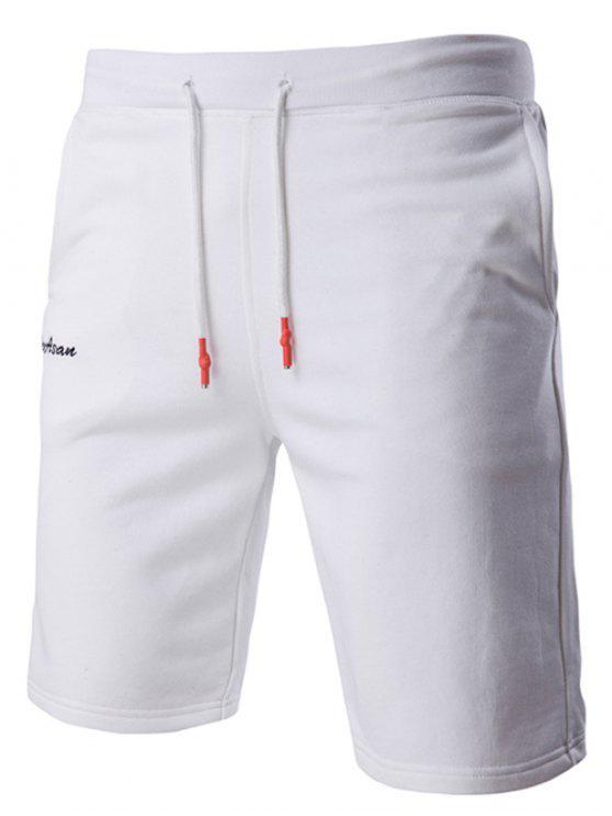 Con cordones de color sólido elegante de la letra bordada de pierna recta pantalones cortos para los hombres - Blanco L