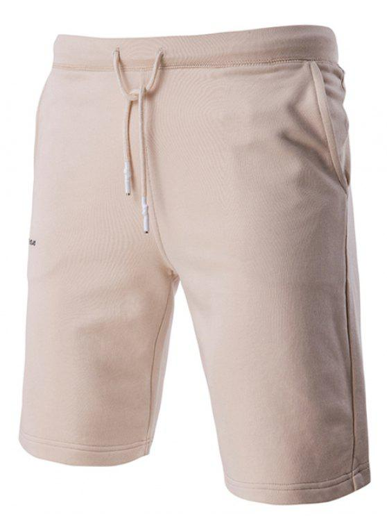 Lace-Up Solid Color Stilvolle Brief gestickte Straight Leg Shorts für Männer - Beige (Weis) XL