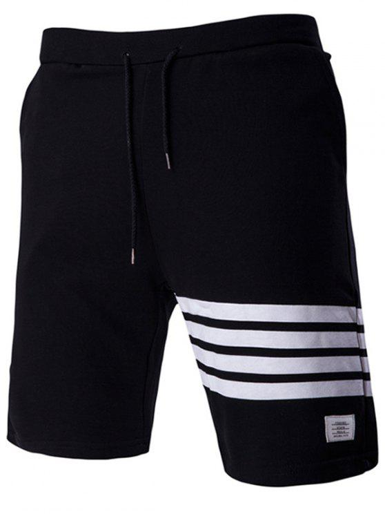 trendy Lace-Up Stripe Stylish Applique Straight Leg Shorts For Men - BLACK 2XL