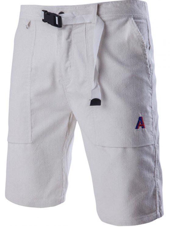 De pana con cremallera hebilla plástica del diseño del bordado de pierna recta pantalones cortos para hombres - Blanco XL