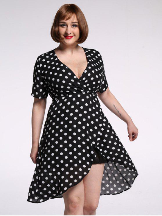 sale Plus Size Polka Dot Chiffon Plunge Asymmetric Dress - WHITE AND BLACK XL