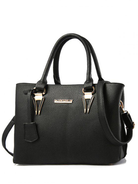 Metallic Lettre PU cuir sac fourre-tout - Noir