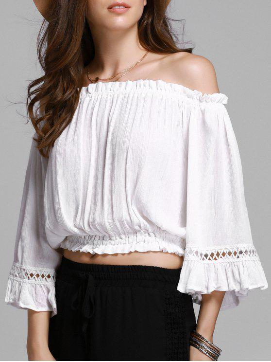 trendy Hollow Out Off The Shoulder Cropped T-Shirt - WHITE 2XL