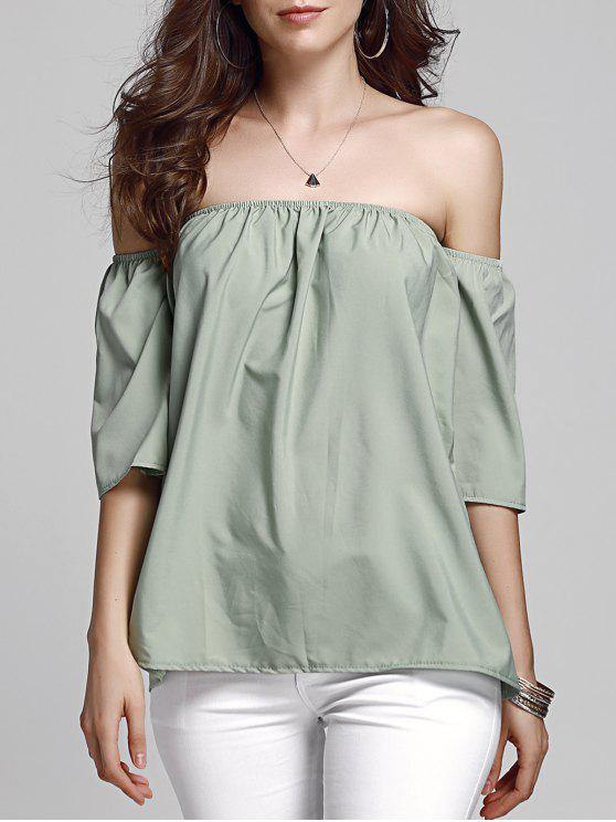 hot Off Shoulder Army Green Top - ARMY GREEN L