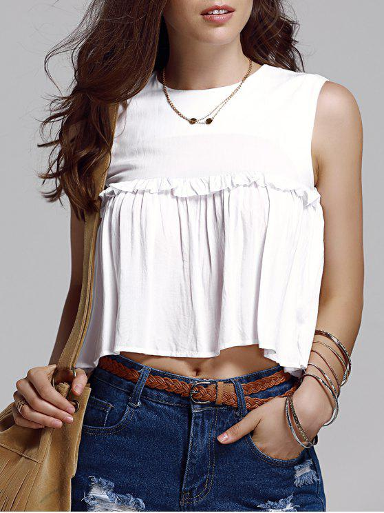 online Frilled Pure Color Top - WHITE S