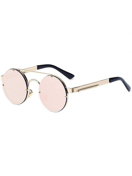 Las barras transversales de oro redondo retro gafas de sol espejadas - Rosa