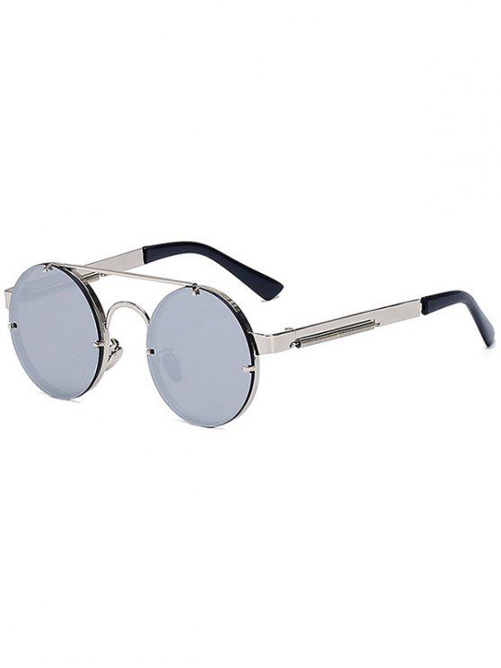 best Silver Crossbar Retro Round Mirrored Sunglasses - SILVER