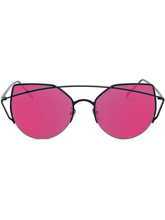 hot Black Crossbar Cat Eye Mirrored Sunglasses - ROSE MADDER