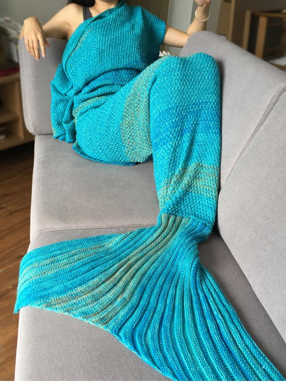 بطانية ميرميد النوم محبوك مخطط - البحيرة الزرقاء