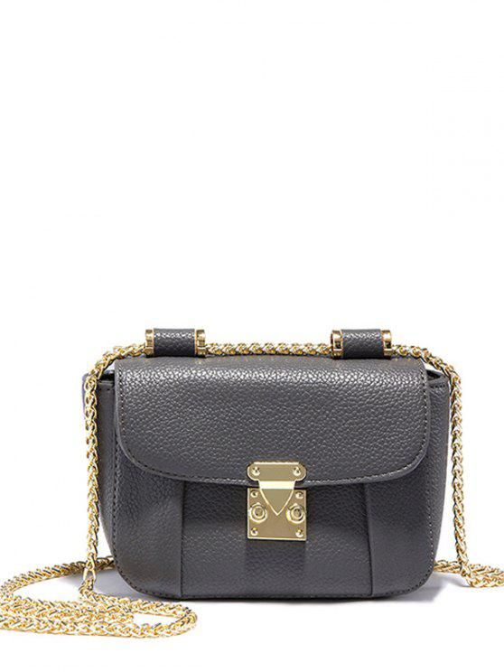 unique Chains Solid Color PU Leather Crossbody Bag - GRAY