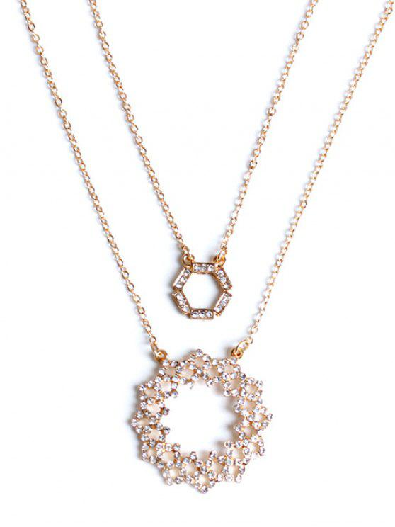 unique Rhinestone Hollowed Layered Necklace - GOLDEN