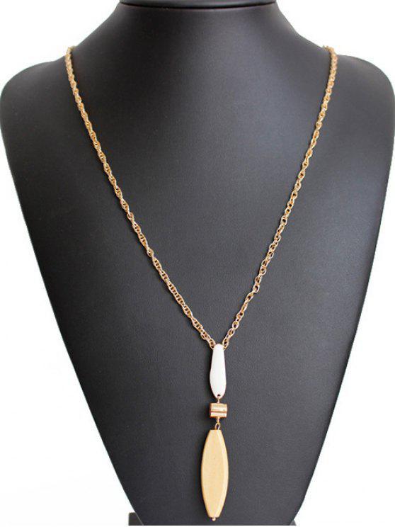 affordable Wood Leaf Long Necklace - GOLDEN