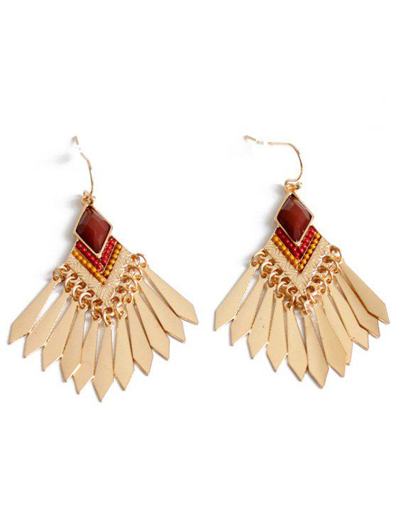 shops Faux Gem Fringe Earrings - GOLDEN