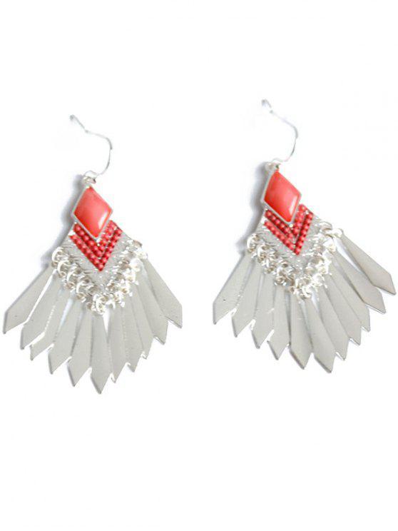 latest Faux Gem Fringe Earrings - SILVER