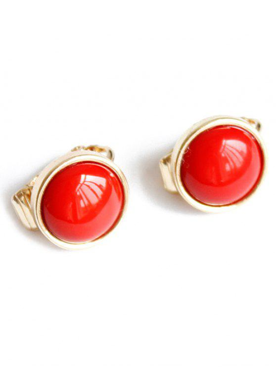 trendy Red Round Clip Earrings - RED