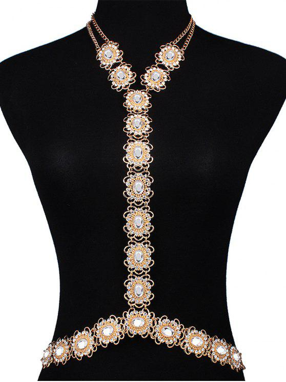 outfits Rhinestone Filigree Flower Body Chain - GOLDEN