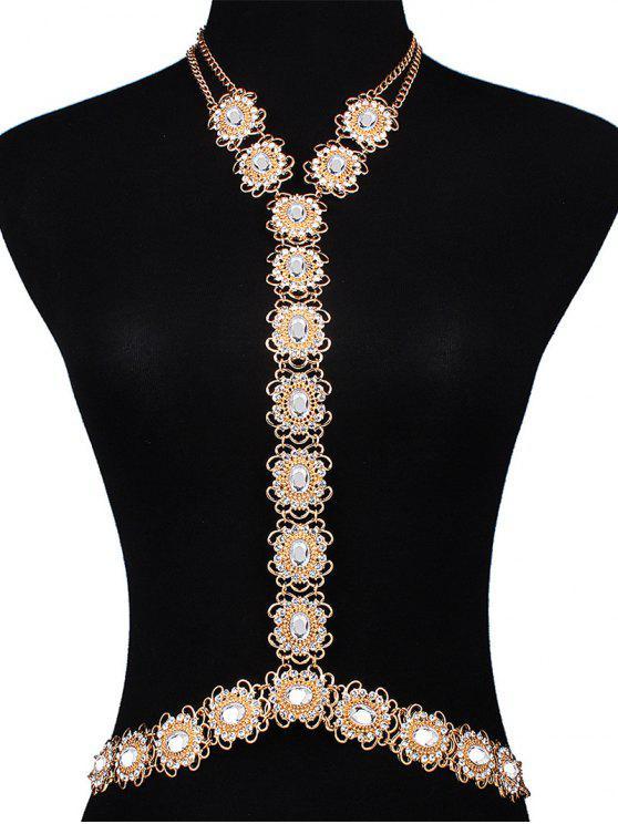 outfits Rhinestone Filigree Flower Body Chain - GOLDEN