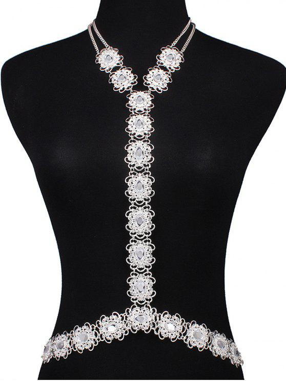 shop Rhinestone Filigree Flower Body Chain - SILVER