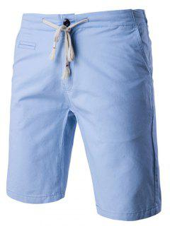 Lace-Up Solid Color Stylish Straight Leg Shorts For Men - Light Blue 2xl