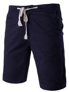 Color Sólido Pantalones Cortos Elegantes De Pierna Recta Con Cordones Para Hombres - Azul Marino  M