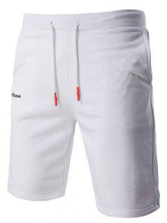 Lace-Up Solid Color Stylish Letter Embroidered Straight Leg Shorts For Men - White L