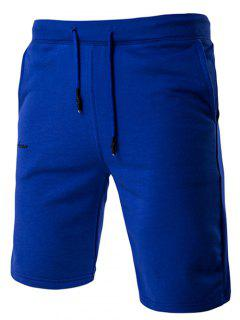 Lace-Up Solid Color Stylish Letter Embroidered Straight Leg Shorts For Men - Sapphire Blue M