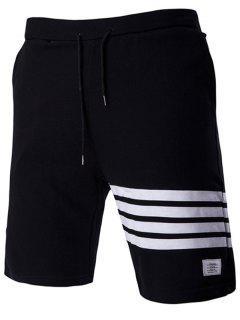 Lace-Up Stripe Stylish Applique Straight Leg Shorts For Men - Black 2xl