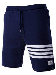 Lace-Up Stripe Stylish Applique Straight Leg Shorts For Men - Cadetblue M