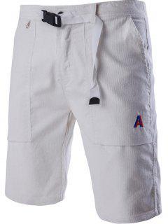 Corduroy Zipper Fly Plastic Buckle Design Embroidery Straight Leg Shorts For Men - White Xl