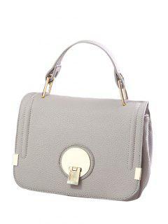 Metallic Hasp PU Leather Tote Bag - Light Gray