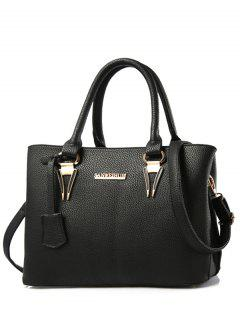 Metallic Letter PU Leather Tote Bag - Black