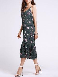 Volantes Volante Y Estampado Floral Cami Vestido Sin Mangas - Verde Negruzco L