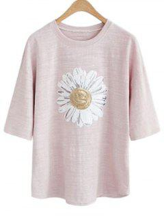 Sun Flower Col Rond Manches 3/4 Paillettes T-shirt - Pale Rose Gris 3xl