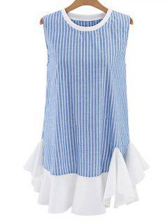 Striped Sleeveless Flouncing Spliced Dress - Light Blue S