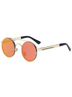 Golden Crossbar Retro Round Mirrored Sunglasses - Red