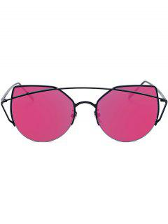 Black Crossbar Cat Eye Mirrored Sunglasses - Rose Madder