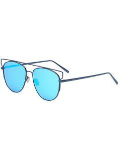 Crossbar Mirrored Pilot Sunglasses - Blue