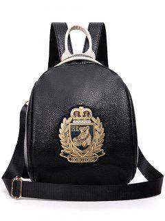 Noir Cuir PU Applique Backpack - Or