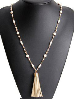 Bead Chain Tassel Necklace - Golden